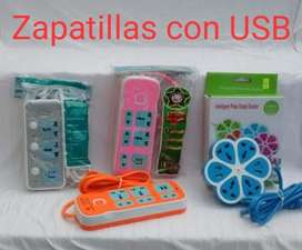 Zapatilla con Enchufe Y Cargador Usb