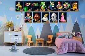 personajes de Super Mario Bros cuadros decorativos del  decoraciones de pared perfectas para sala de estar, dormitorio,