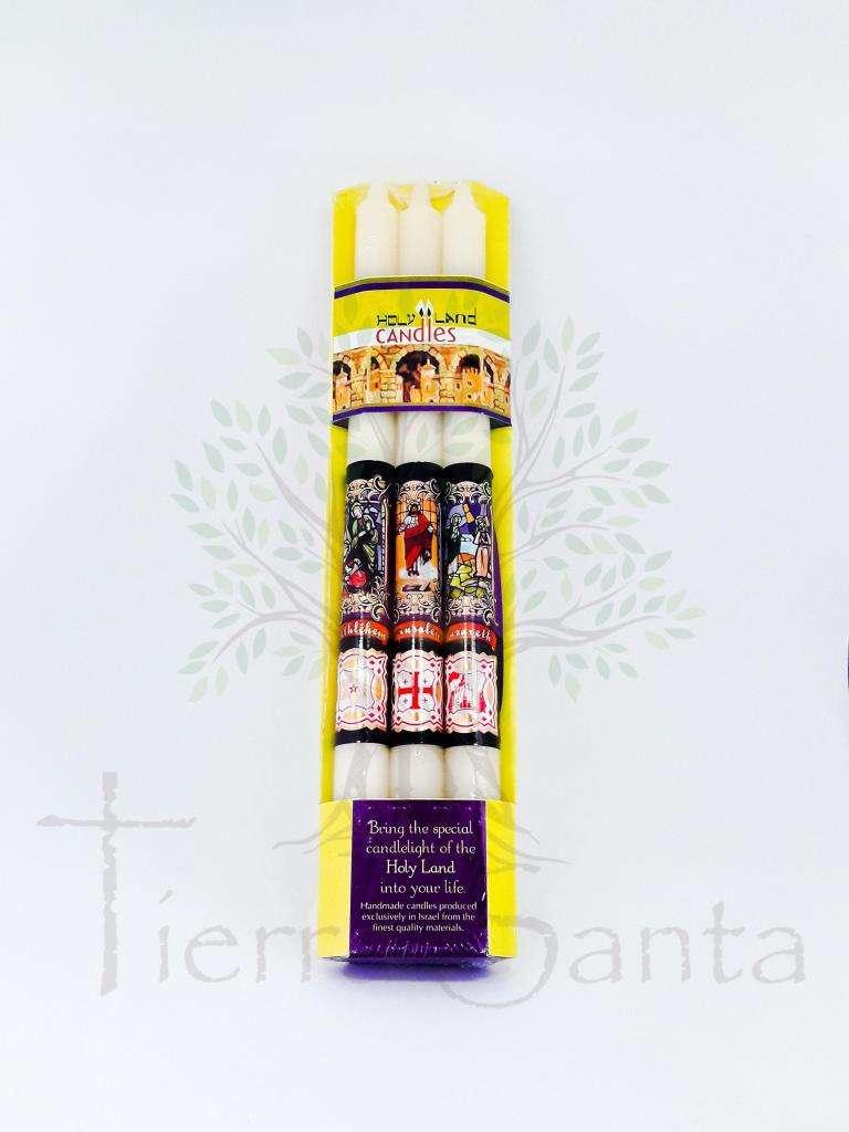 Juego 3 Velas Aromáticas Católicas traido de Jerusalén Tierrra Santa 0