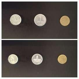 Peso argentino. Moneda 1 y 5 pesos arg, y 10 centavos de 1983 a 1985