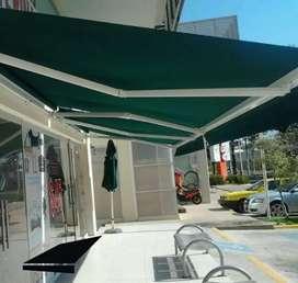 Toldos parasoles enrollables retráctil sombralinas banetas carpas