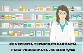 NECESITO TECNICO EN FARMACIA
