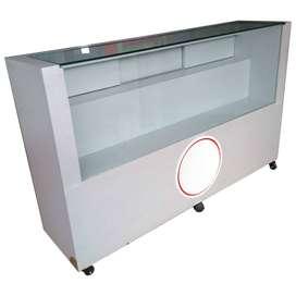 Vitrina para exhibición y almacenamiento de 160 x 110 x 45 cm, con madera maciza, fórmica, vidrio templado 2 niveles