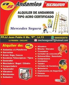 Alquiler de andamios y maquinaria de construcción
