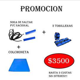 COLCHONETA + 2 TOBILLERAS + SOGA SALTAR