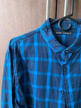 Camisa Cuadros Azules Bershka