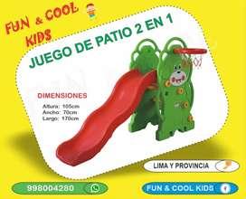JUEGO PARA NIÑOS - RESBALADERA MAS ARCO DE BASQUET