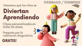 Nivelación académica. Refuerzo escolar. Terapia ocupacional y fonoaudiología.