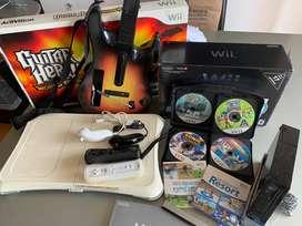Nintendo Wii + Guitar Hero + Wii fit