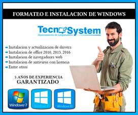 Instalacion de WINDOWS: XP, 7, 8, 10, Incluye instalacion de programas basicos