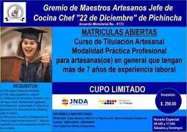 Gremio de Artesanos Jefe de Cocina Chef 22 de Diciembre