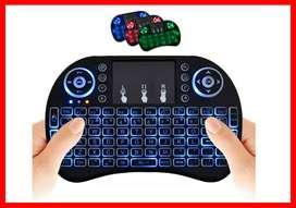Teclado inalámbrico con retroiluminación de 3 colores con mouse con panel táctil y teclas multimedia, teclado de control