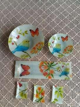 Centro de mesa o platos tipo Vintage  beautiful birds
