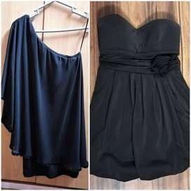 Vestido Fiesta Negro strapless asimétrico pedería