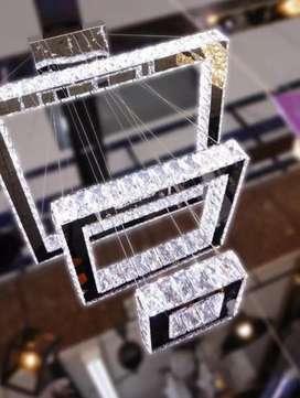 Lampara colgante cristal  led 3 tonos de luz