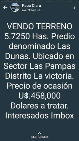 TERRENO 5.7250 HAS PREDIO  LAS DUNAS PAMPAS LA VICTORIA