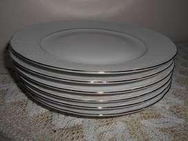 Seis platos playos postre porcelana checoslovaca