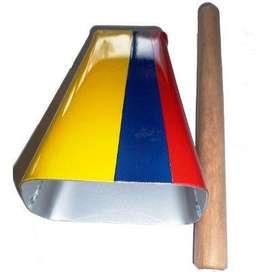 campana cencerro de mano salsa bandera colombia golpeador