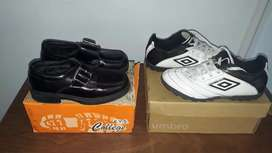 Botines N.33 ($1.000) y zapatos con hebilla N.31 ($900)