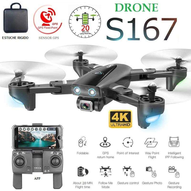 Drone S167 GPS camara 4K Estuche wifi sensores selfie 20 min 500 metro