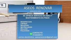 Servicio de limpieza y mantenimiento de pisos