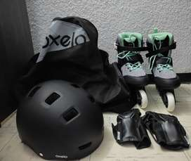 Kit de patinaje. Casco + Maletín + Muñequeras + Patines con accesorios Referencia: Patines mujer fit100 fitness