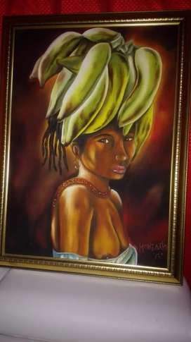 Cuadro Mujer Afro marco en madera antigua