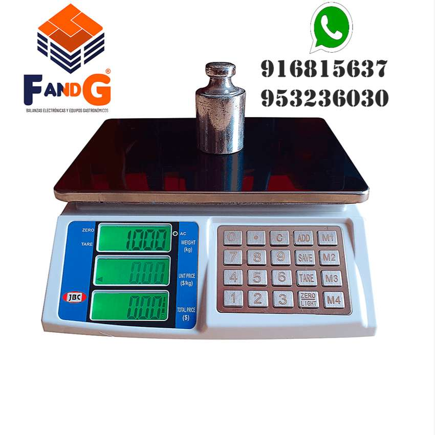 balanzas electrónicas de 30 kg con teclado de acero JBC 0