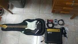 Guitarra eléctrica Vorson v - 150 con amplificador nuevo y accesorios.