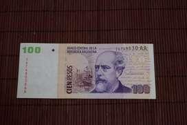 "Billete Argentino Serie ""Convertibles Sin Leyenda"" 100 pesos Serie AA"