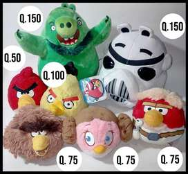 Angry Birds, Peluches, Cerdo, Red, Chuck, Matilda, Space, Star Wars, Trooper, Chewbacca, Luke Skywalker, Leia.