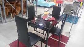 Set comedor 4 sillas gruzeta vidrio negro conjunto Mesa de jantar 4 cadeiras gruzeta vidro preto