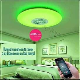 Foco LED 48W RGB  16 colores y luz blanca con Parlante MP3 Bluetooth Y Control Remoto.