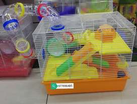 Jaula de Hamster Lujosa 3 Pisos Amarillo