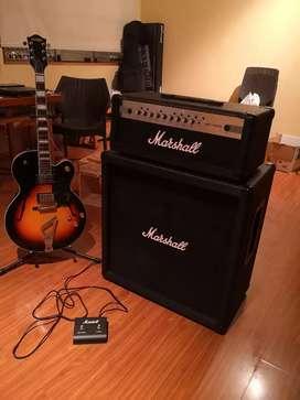 Amplificador cabezal gabinete guitarra electrica marshall  mg100hcfx com efectos y footswitch segunda mano  Perú
