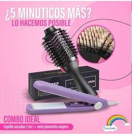 COMBO IDEAL Cepillo Secador 2 en 1+ Mini Planchita Viajera