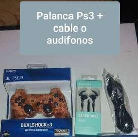 Palanca ps3 + cable o audifono