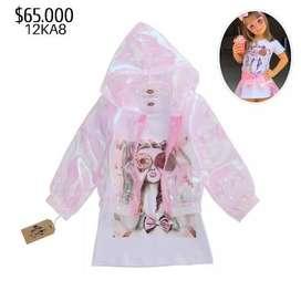 vestido blanco estampado niña chaqueta rosa transparente ropa para niña de moda moderna