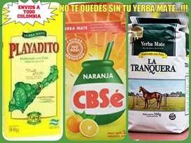 ULTIMAS .! YERBA MATE ARGENTINAS! PLAYADITO, LA TRANQUERA y CBS SABOR NARANJA y LIMON.!