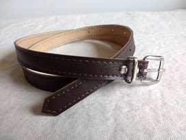 Cinturón De Cuero Marrón Oscuro. Mujer . Imp!