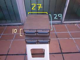 porta cassettes cajon de madera