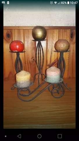 4 candelabros de hierro forjado