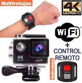 Camara Deportiva Con Control Pulsera 4K Ultra Hd  Wifi