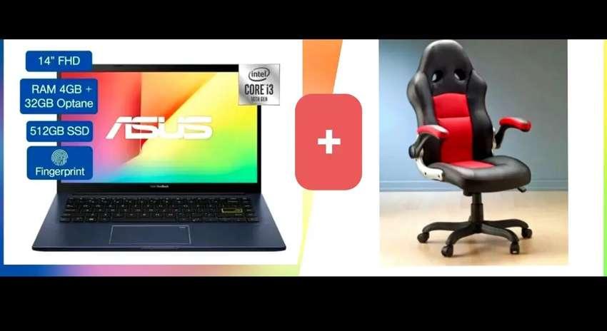 Asus Vivobook 512 SSD Win 10+ Silla Gamer gerencial
