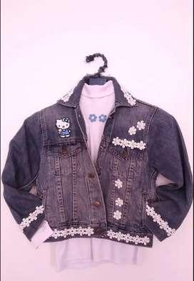 Juego buso cuello tortuga y chaqueta jean niña $53.450.
