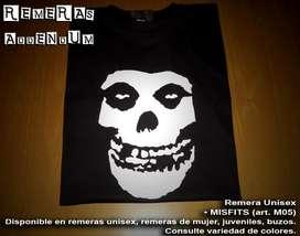 Remeras Misfits punk rock y más Estampadas con pintura textil premium Algodon 100% Envios sin cargo Capital Promo!