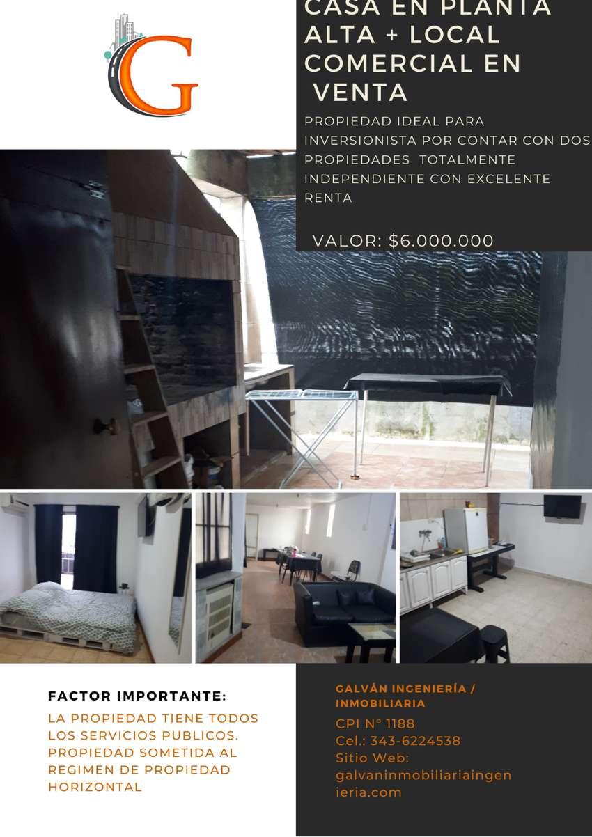 VENDO CASA EN PLANTA ALTA + LOCAL COMERCIAL
