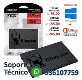 DISCO DURO SOLIDO SSD 120 GB, 240 GB,480 GB+ BOLETA DE GARANTIA 3 AÑOS + SISTEMA WINDOWS 10 + OFFC 2019