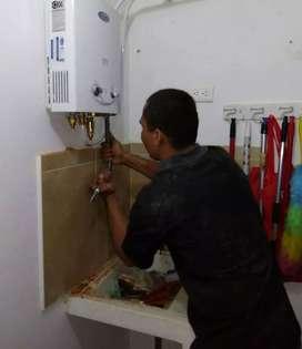 Mantenimiento y reparación y conexión de calentadores de agua a gas natural