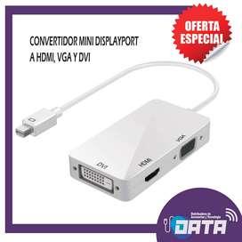 CONVERTIDOR MINI DISPLAYPORT A HDMI, VGA Y DVI (Multipuerto)